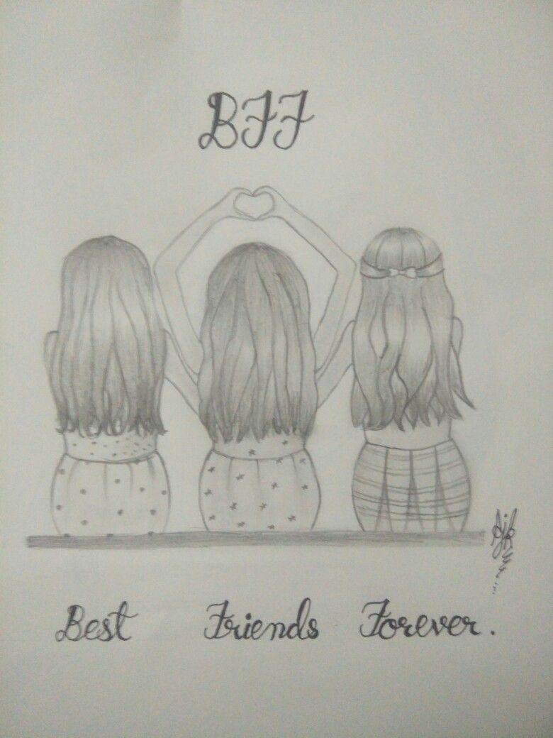 Three Best Friend Drawing Best Friend Drawings Friends Sketch Best Friend Sketches