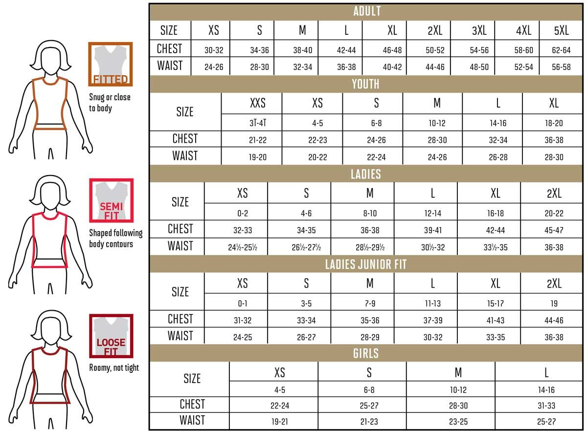 Size Chart Athletic apparel, Size 3t