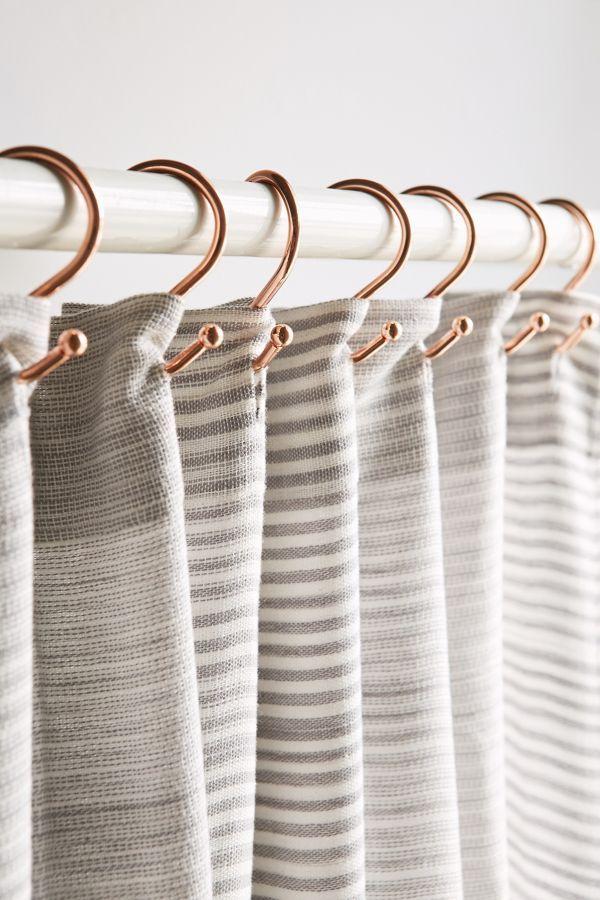 Slide View 1 Copper Shower Curtain Hooks Set