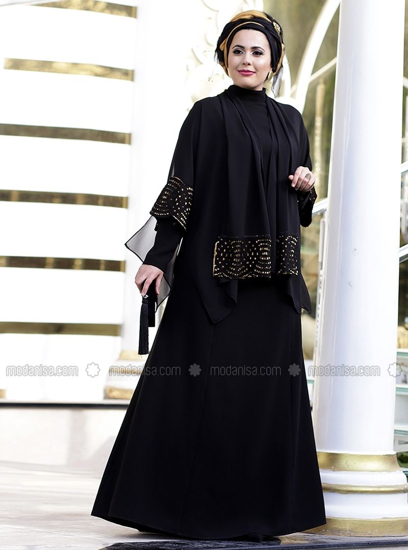 fab44c1de85 Black - Fully Lined - Crew neck - Polyester - Muslim Plus Size Evening Dress  - Nesrin Emniyetli