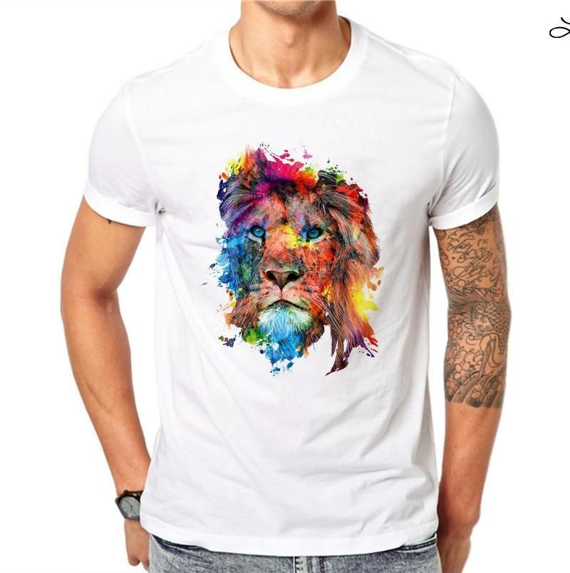 5187f416596c7c 100% Cotton Colorful Lion Design Men T Shirts Summer Fashion Short Sleeve  Casual White Tops Animal Printed T-Shirt Cool Tee