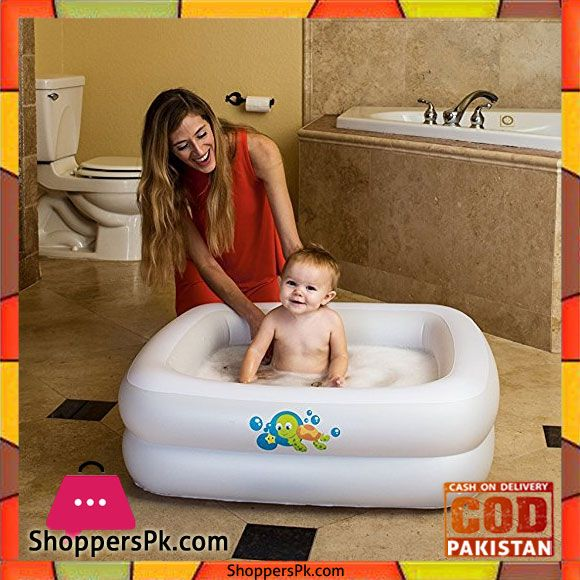 Buy Bestway Baby Bath Tub Square with Inflatable Bottom White 34 x ...