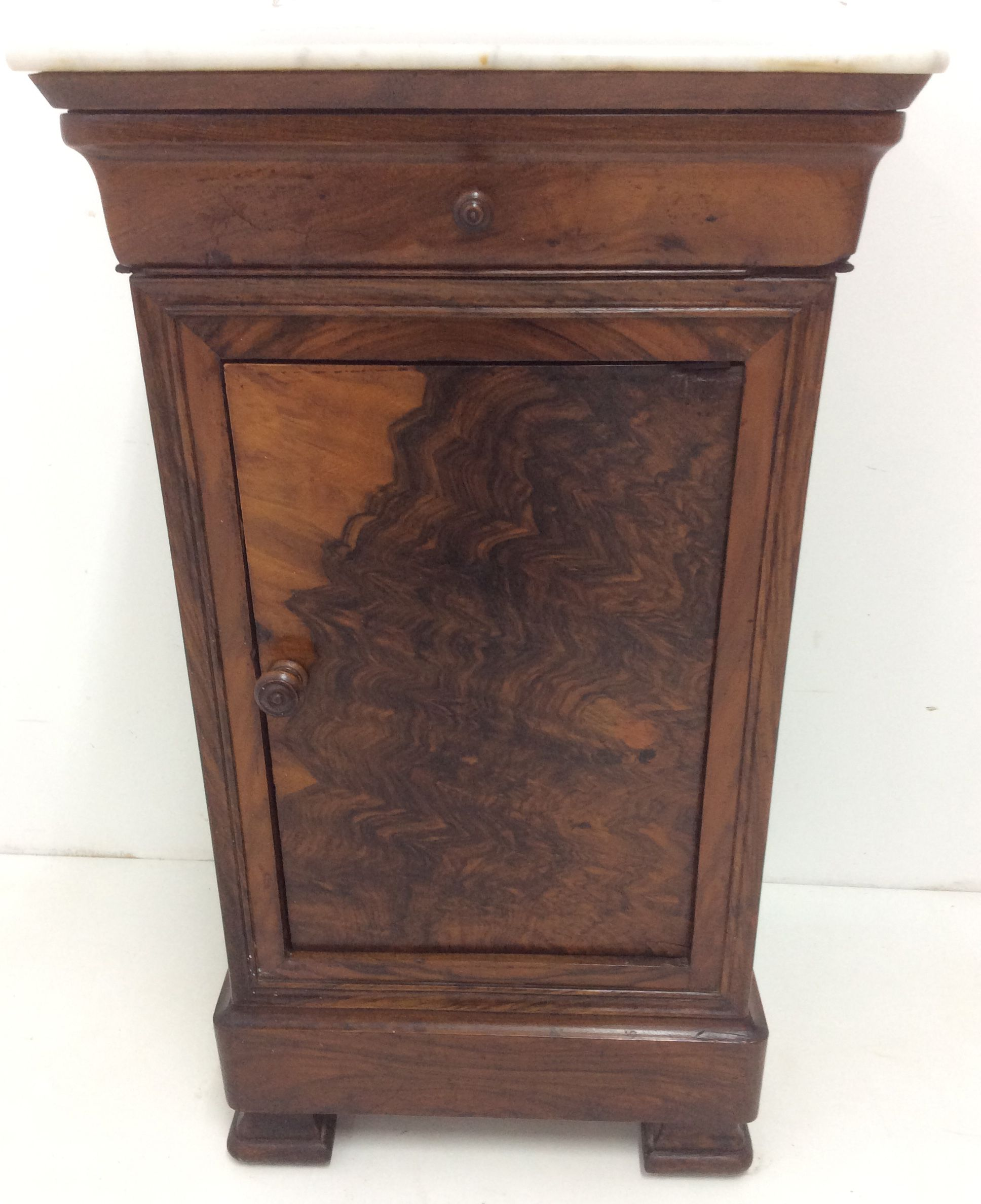 Louis Philippe Walnut Chevet Having White Marble Top Over One Drawer And One Highly Figured Cupboard Door Resting On Ogee Feet Late Marble Top Marble Antiques