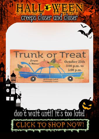 Community Trunk Or Treat Halloween Long Car Event Banner Zazzle Com Event Banner Trunk Or Treat Halloween Treats