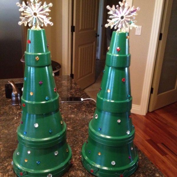 Terra cotta pot Christmas trees by babyblu3