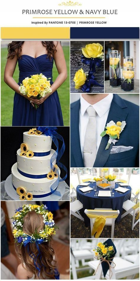 Top 5 Early Summer Navy Blue Wedding Ideas—navy blue and yellow wedding with s… – bouquetofsunflowers
