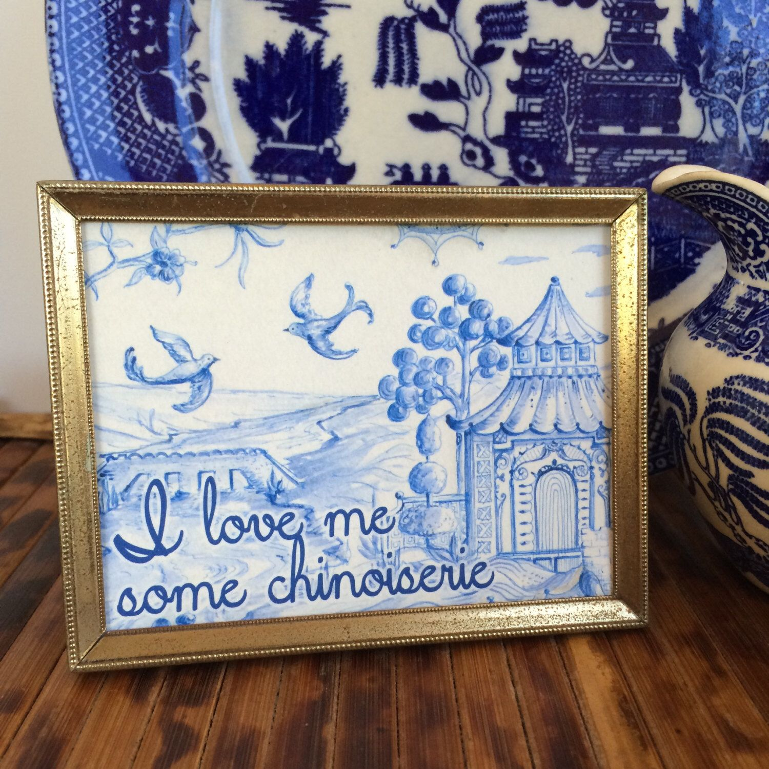 Vintage Chinoiserie | blue willow | art print | blue and white | pagoda art | framed quote decor printable | blue and white | hostess gift by PloverPrintables on Etsy https://www.etsy.com/listing/206922566/vintage-chinoiserie-blue-willow-art