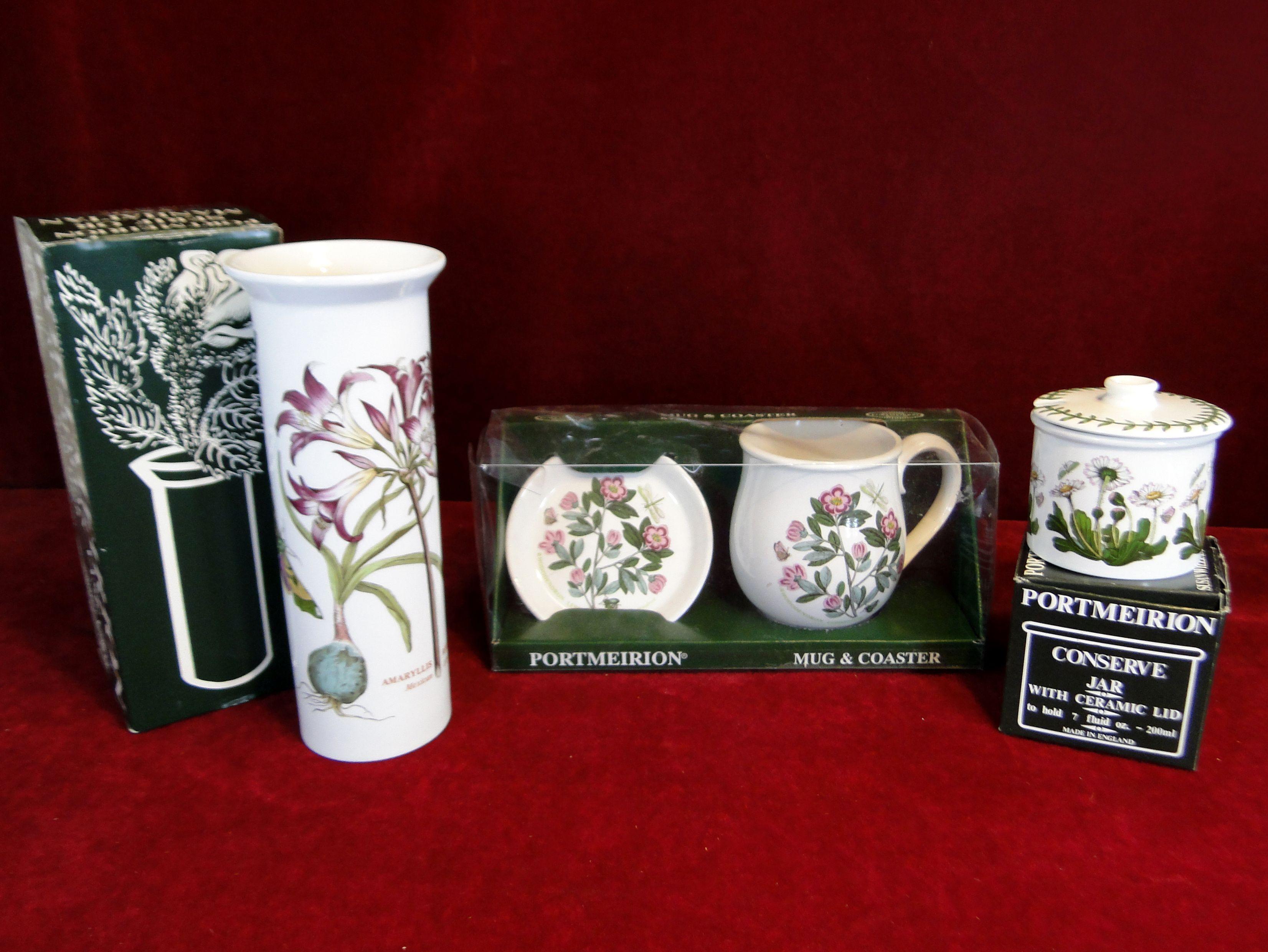 63) Portmeirion Manhattan vase, conserve jar, mug and coaster all new in boxes Est. £15-£25