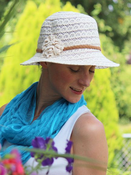 Sweet lace hat covers a bald head for summer. Perfect accessory for an  outdoor wedding. f439db3fd