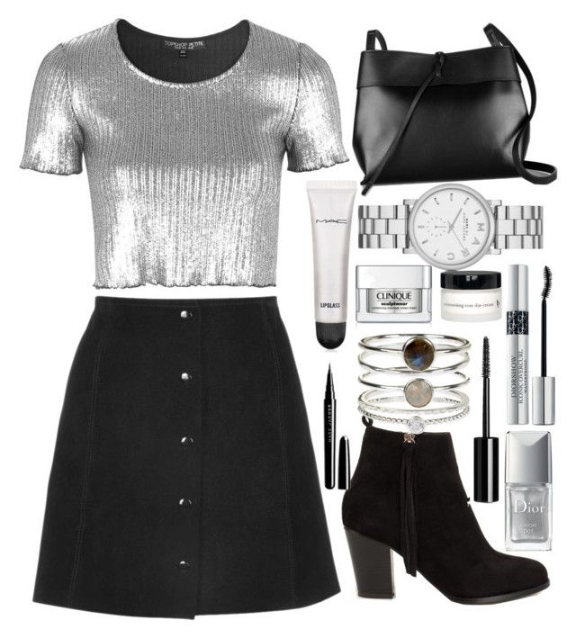 """SILVERNESS"" by vlleander ❤ liked on Polyvore featuring Topshop, Nly Shoes, Kara, Marc by Marc Jacobs, Accessorize, Christian Dior, MAC Cosmetics, Clinique, BBrowBar and Chanel"