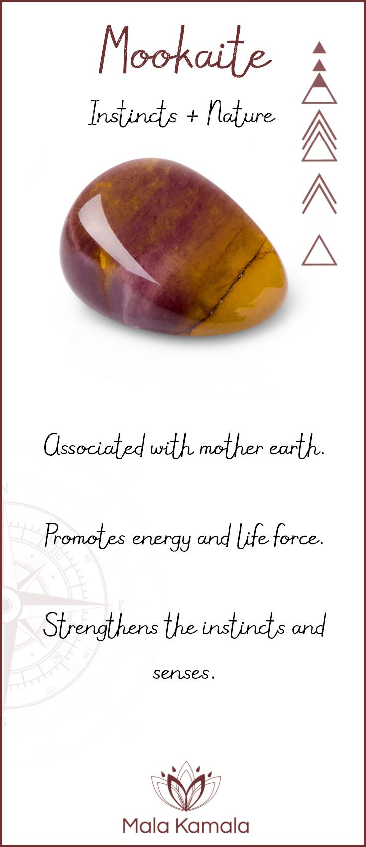 Pin To Save, Tap To Shop The Gem. What is the meaning and crystal and chakra healing properties of mookaite? A stone for insincts and nature. Mala Kamala Mala Beads - Malas, Mala Beads, Mala Bracelets, Tiny Intentions, Baby Necklaces, Yoga Jewelry, Meditation Jewelry, Baltic Amber Necklaces, Gemstone Jewelry, Chakra Healing and Crystal Healing Jewelry, Mala Necklaces, Prayer Beads, Sacred Jewelry, Bohemian Boho Jewelry, Childrens and Babies Jewelry.