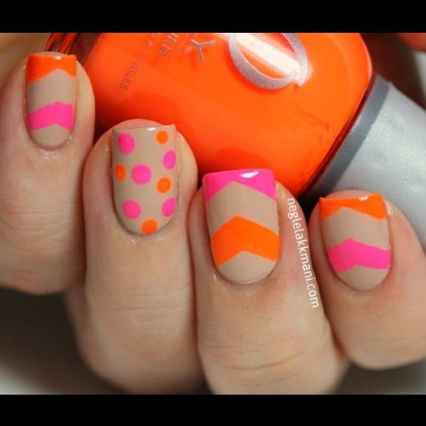 Neon Pink And Orange Dots Amp Chevrons On Nude Base Nail Art Design