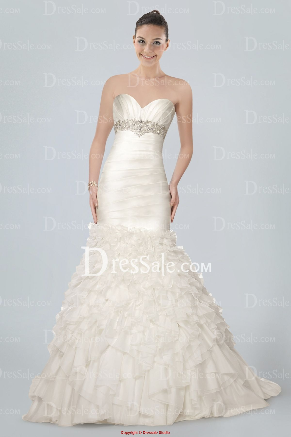 Mermaid ruffle wedding dress  Formidable Strapless Mermaid Wedding Gown Featuring Beaded Motifs