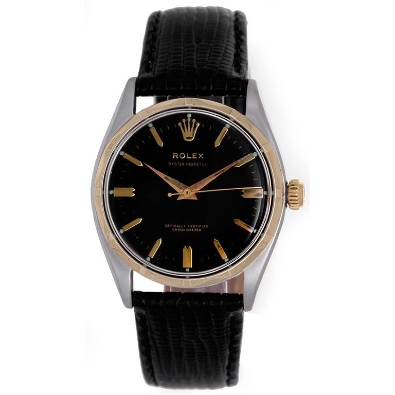Rolex Stainless Steel and Yellow Gold Oyster Perpetual Wristwatch
