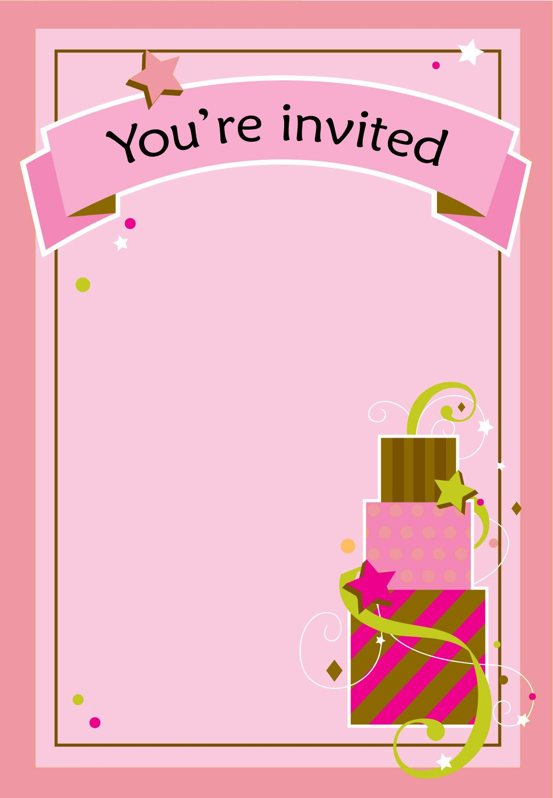 Girl Fun Birthday - Free Birthday Invitation Template  Greetings
