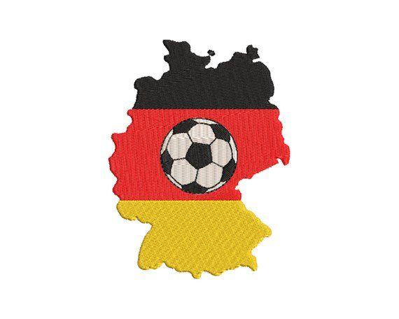 Stickdatei Deutschland Karte Fussball Herz 13x18 Rahmen