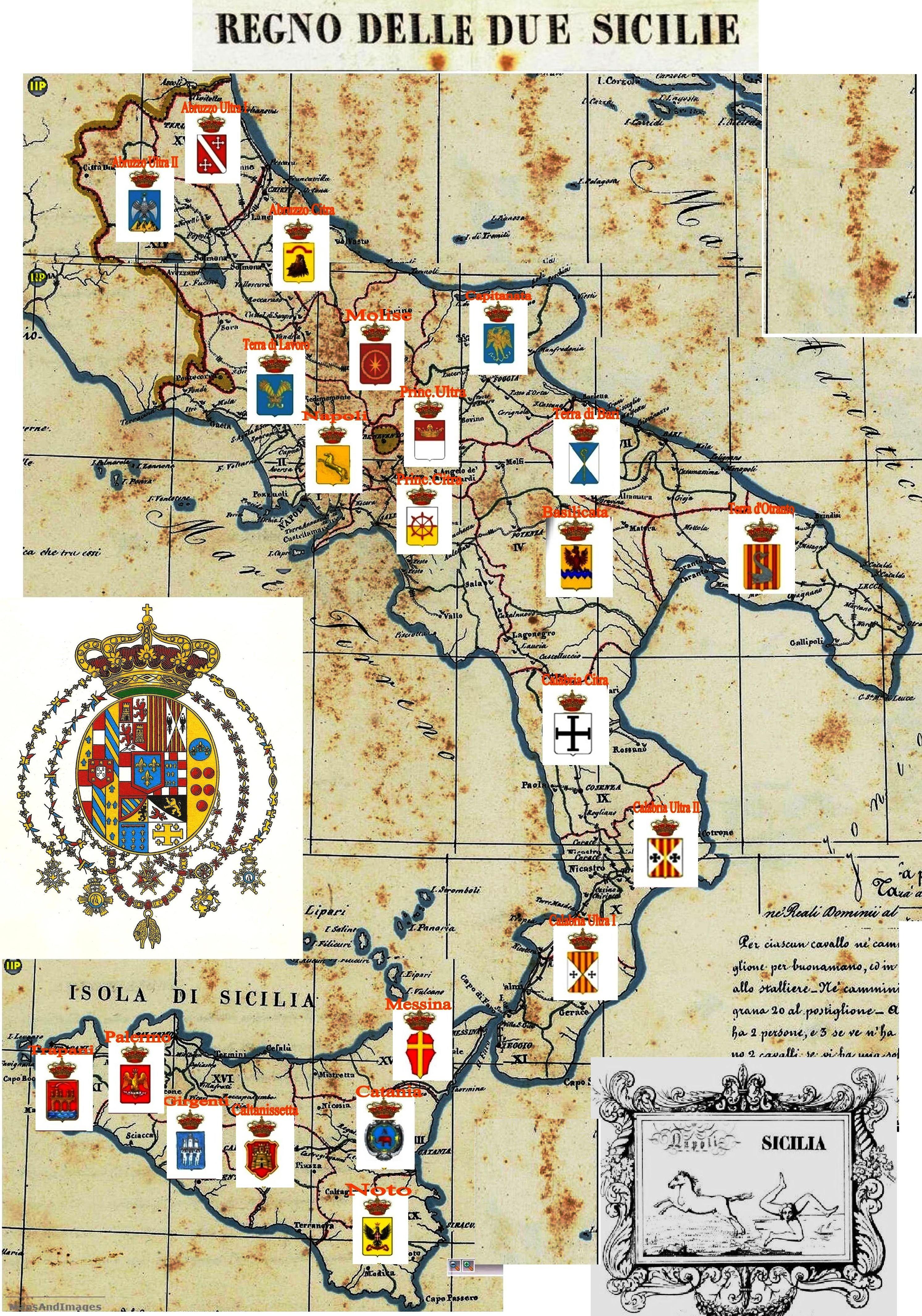 Provincie del Regno delle Due Sicilie   Sicilia, Foto segnaletiche, Schizzi  d'arte