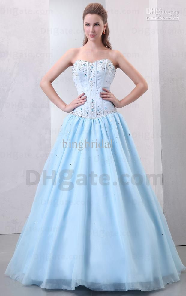 Wholesale Prom Dresses - Buy Gorgeous 2013 Light Blue Ball Gown ...