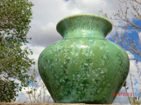 green crystalline glazed pottery vase by VilettaLuna on Etsy, $50.00 #etsyaaa #pottery