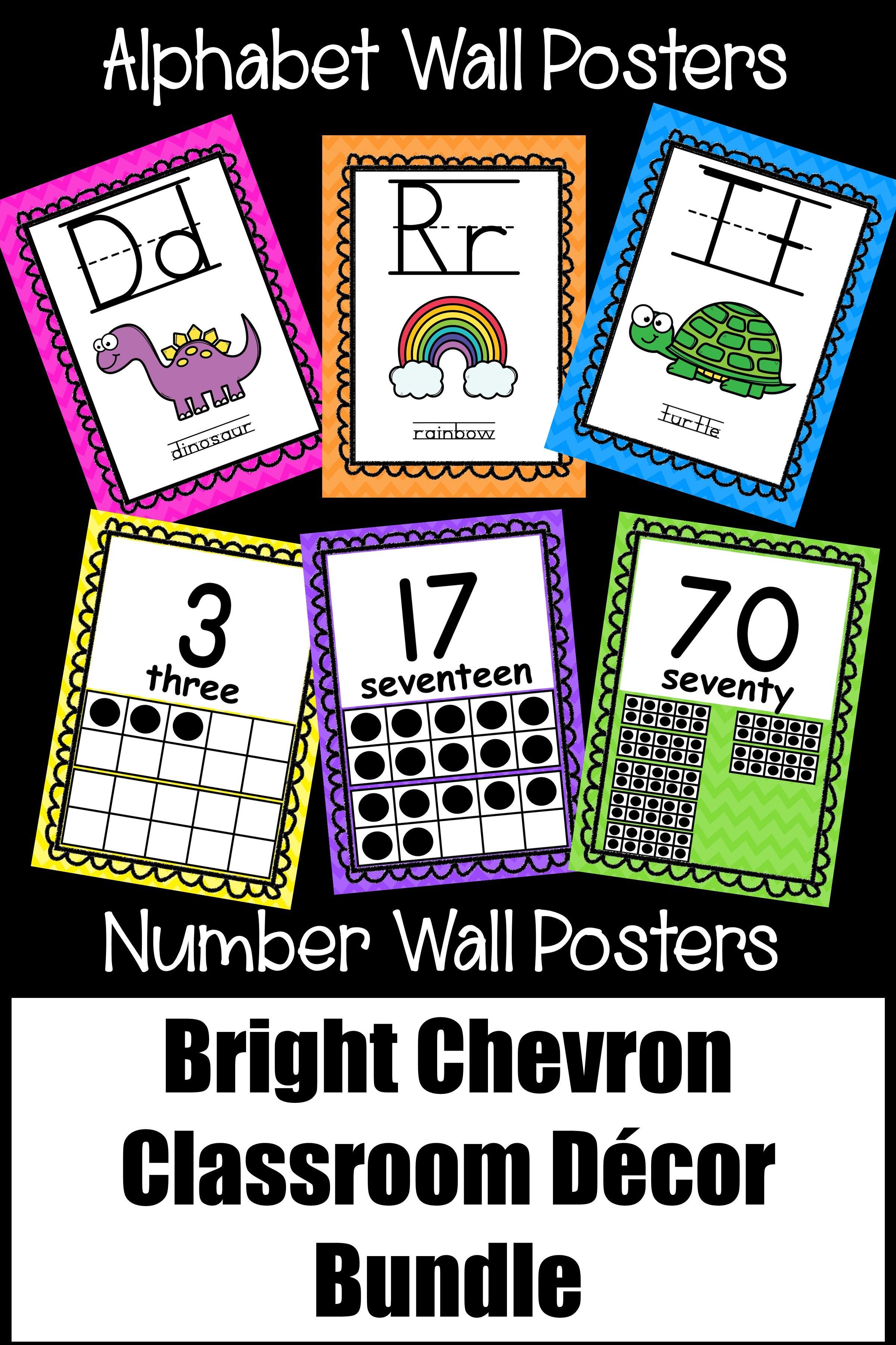 Bright Chevron Classroom Theme Decor Bundle