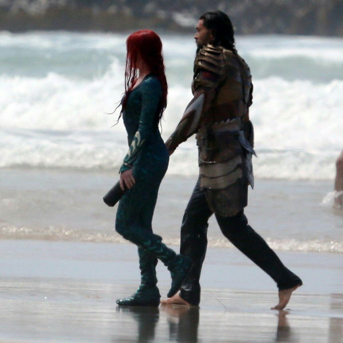 Amber Heard And Jason Momoa As Mera & Aquaman Filming