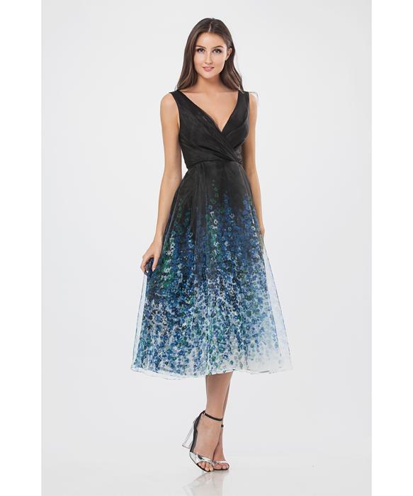 011767385721 Printed Organza Tea Length Cocktail Dress | Dresses in 2019 | Tea ...