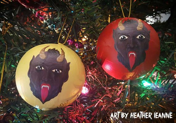 Hand painted vintage style Krampus Christmas ornaments