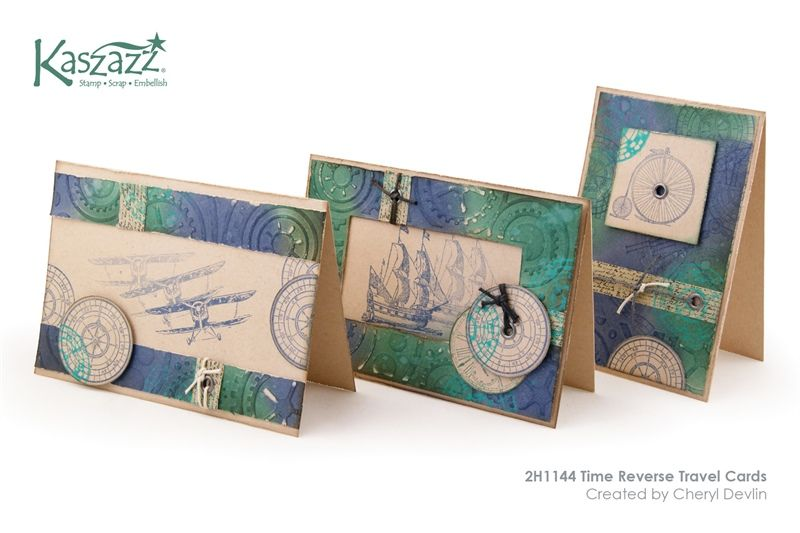 2H1144 Time Reverse Travel Cards is part of Reverse Masking Stampin Up Cards Masculine Cards - During the 2 hour workshop you will create a set of three cards for the men in your life using the EzyPress and Time Reverse Die and a Tim Holtz inspired technique of Blending, Spritzing and Flicking