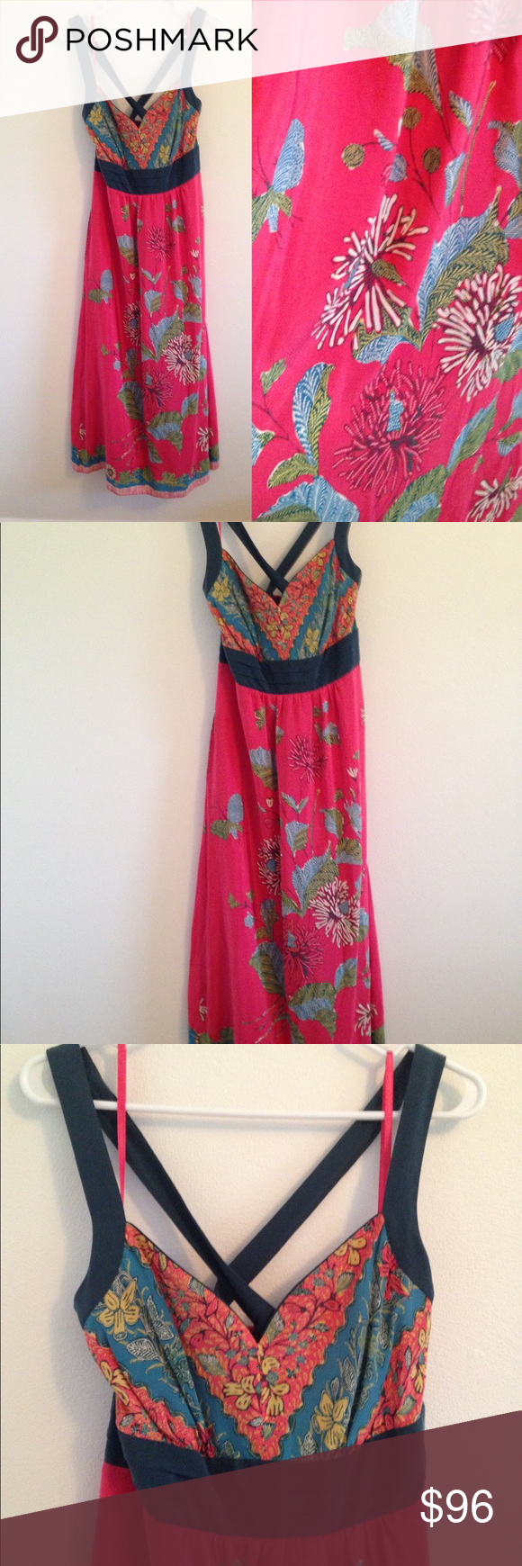 """Edme and Esyllte Silk Equinox Calling maxi dress Excellent used condition. Measures approximately 36"""" bust, 34"""" waist, and 54"""" long. Anthropologie Dresses Maxi"""
