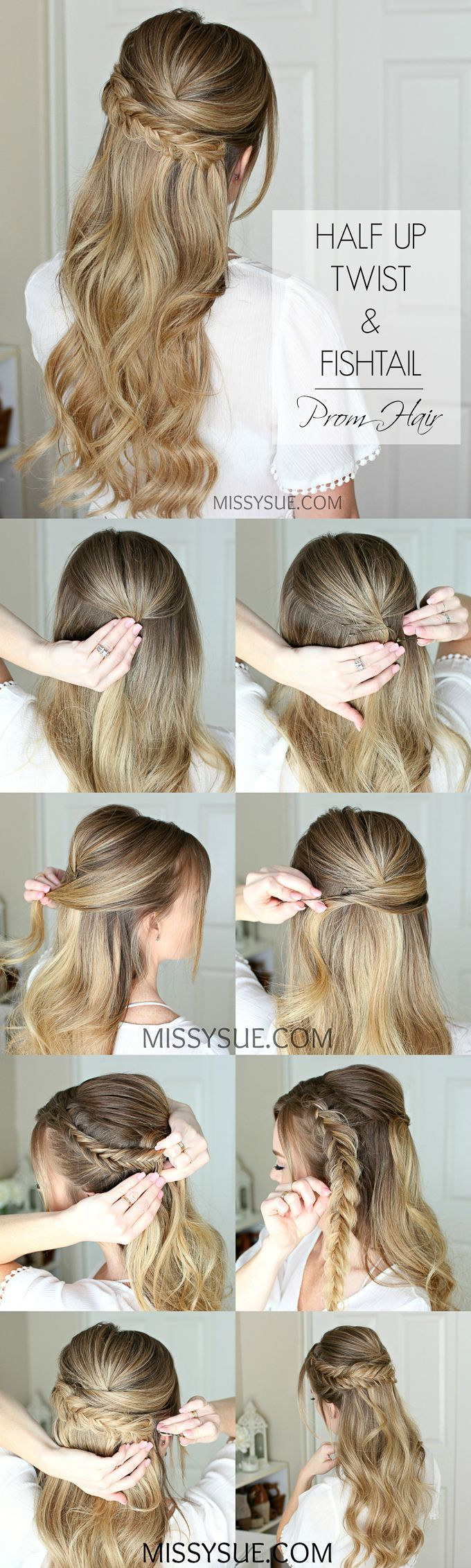 Easy Half Up Prom Hair Missy Sue With Images Braided Hairstyles Easy Prom Hair Tutorial Hair Beauty