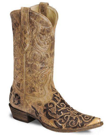 3337e14adfa Corral Caiman Inlay Tooled Cowboy Boot - Snip Toe | Men's Shoes ...