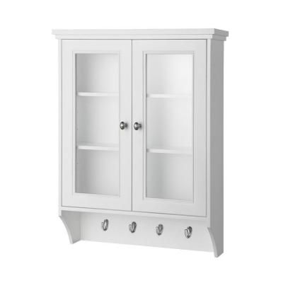 Home Decorators Collection Gazette 23 1 2 In W X 31 In H X 7 1 2 In D Bathroom Storage Wall Cabinet With Glass Door In White Gaww2431 The Home Depot Glass Cabinet Doors