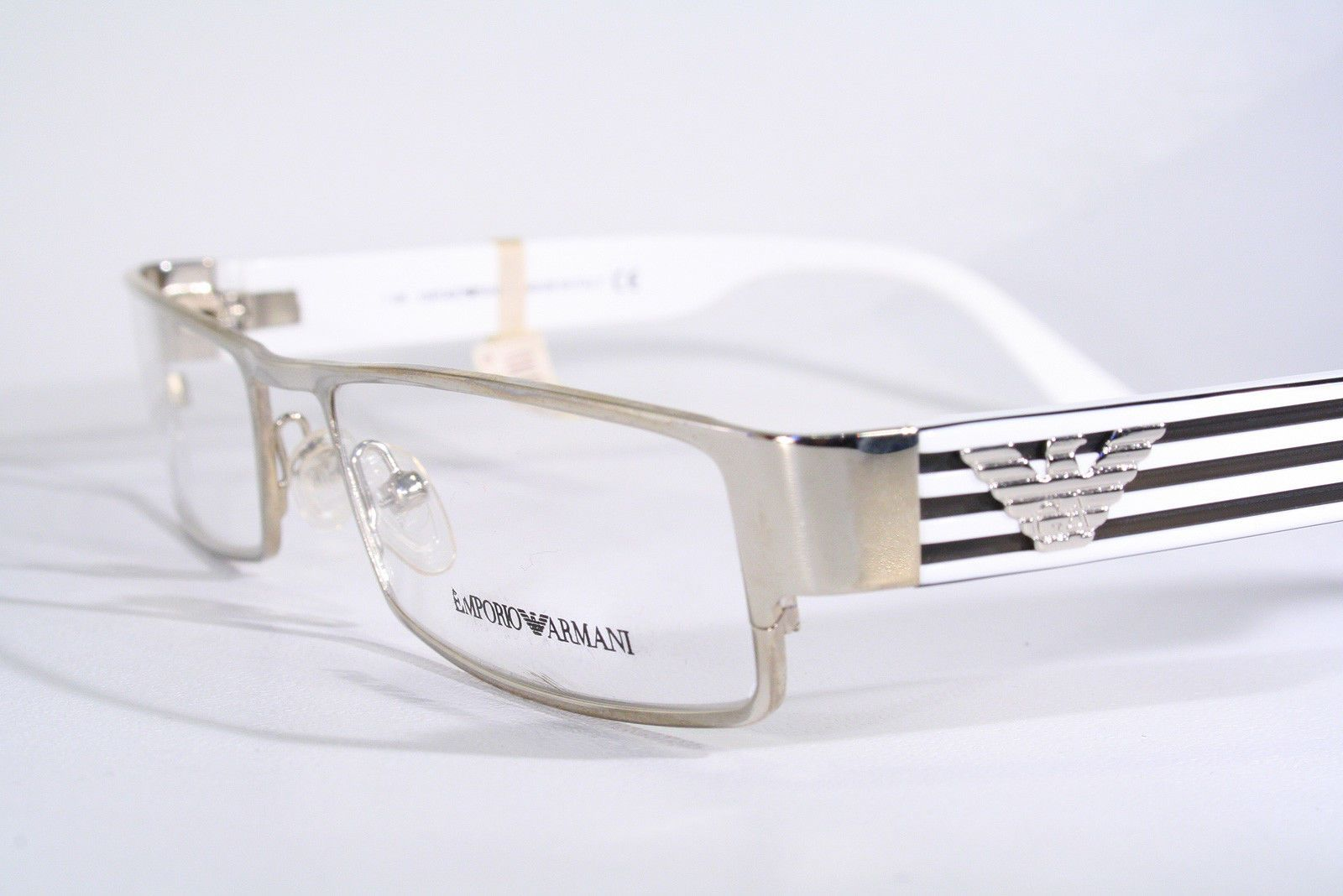 EMPORIO ARMANI Women\'s New Rectangular Silver & White Eyeglass ...