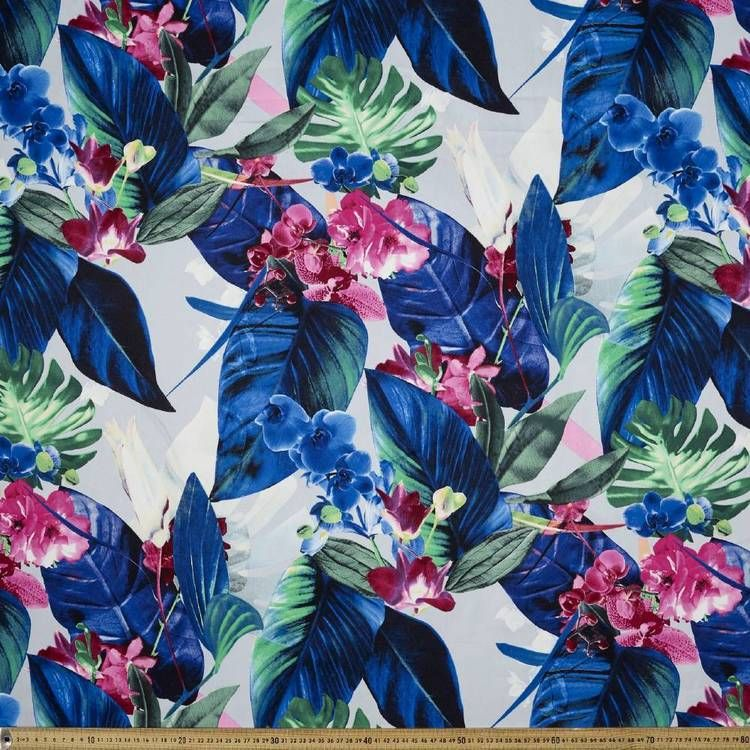 Printed Sateen Brilliant Tropics 127 Cm Fabric Multicoloured 127 Cm Fabric Apparel Fabric Sateen