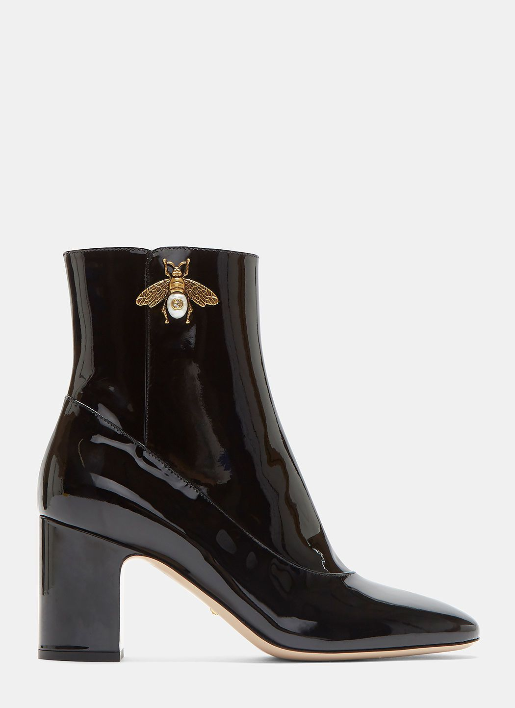be63b4c8509b GUCCI Gold Bee Motif Patent Ankle Boots In Black.  gucci  shoes ...