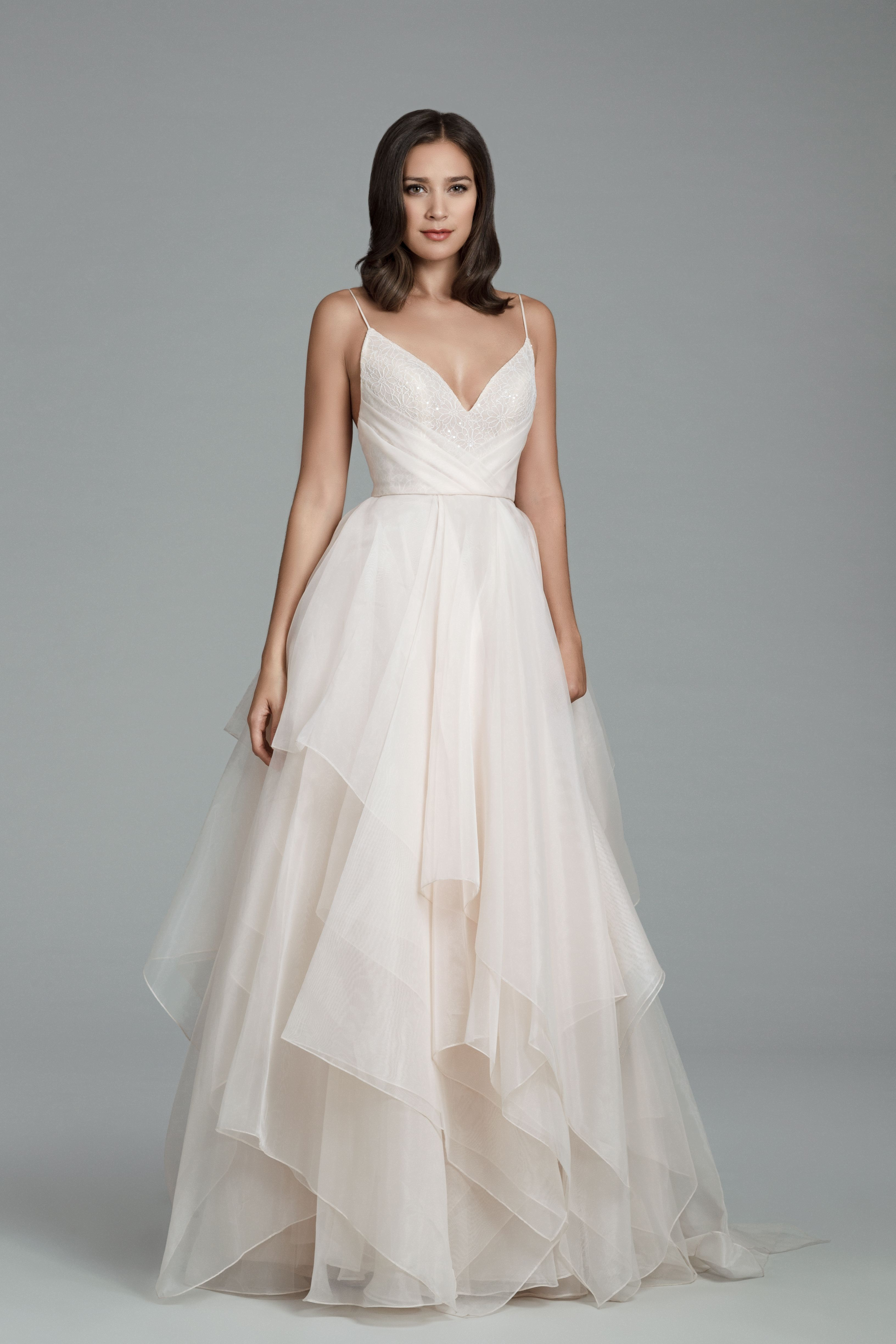 03822573f22c Tara Keely Bridal Gown Style 2805 - Designed by Lazaro.Rose Organza ball  gown, ballerina V neckline with spaghetti straps, sequined lace bodice with  ...