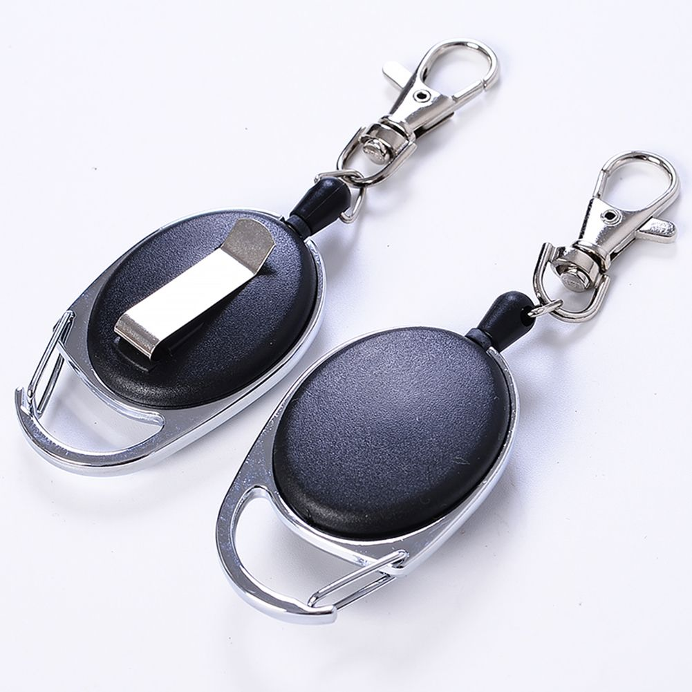 Extensible Nylon Rope Back Clip Men Anti-Lost Keychain Organizer Key Ring Decor