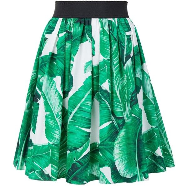 a18989706403a Dolce   Gabbana Palm Print Full Skirt ( 745) ❤ liked on Polyvore featuring  skirts