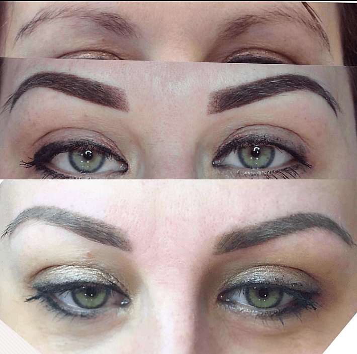 Picture sequence showing healing process of powder mist brows on ...