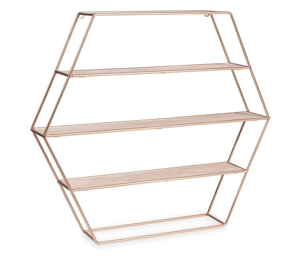 Copper Rose Gold Hexagon Geometric Modern Shelf Shelves Home Decor  # Meuble De Tv A Melin