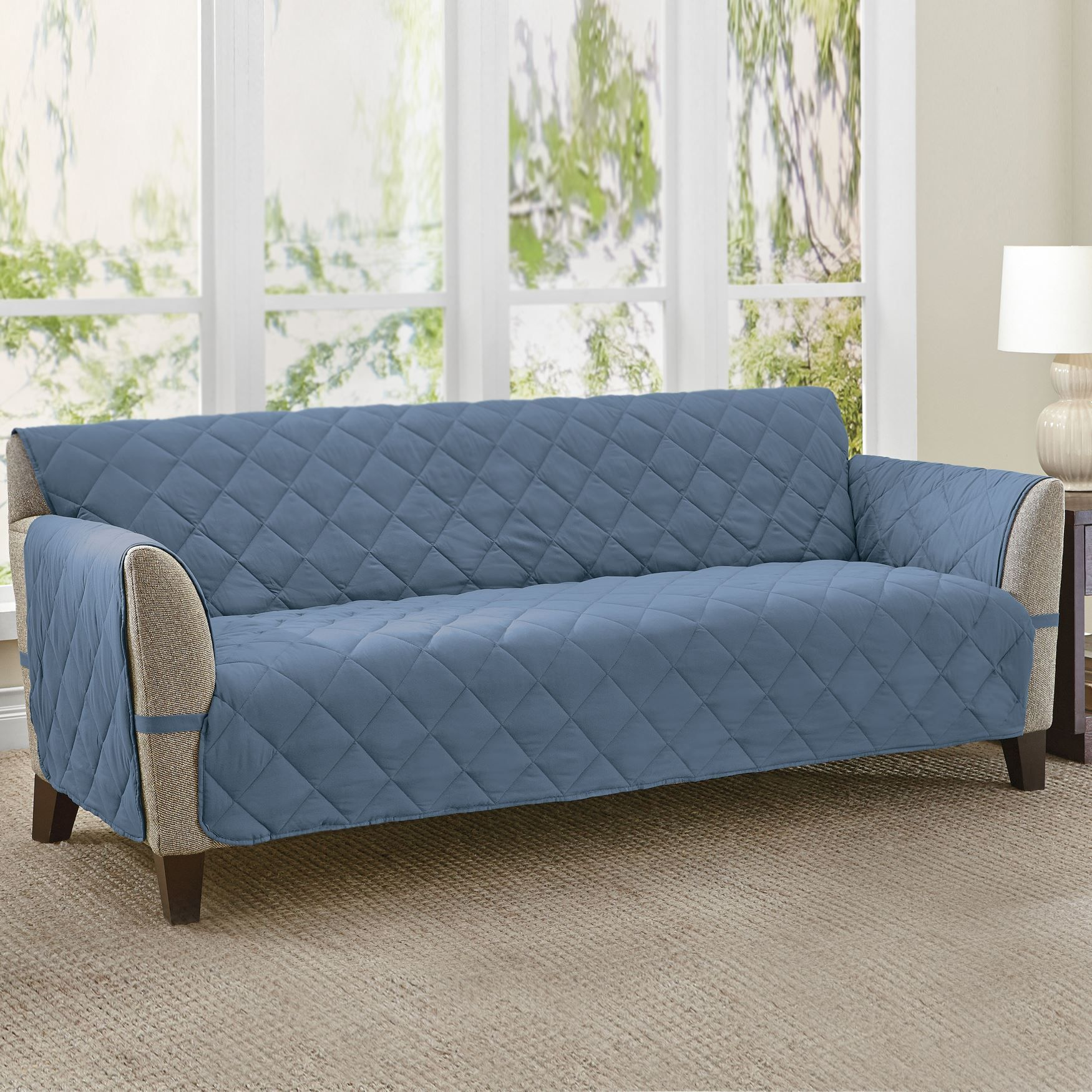This Water Repellent Extra Long Sofa Cover In A Diamond
