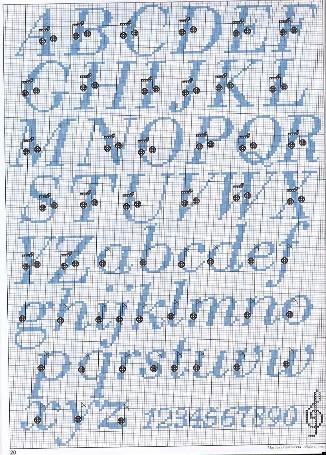 spesso alfabeto punto croce con note musicali - magiedifilo.it punto  YW56