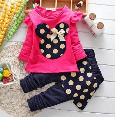 Girls clothes Baby Girl Clothing Set Children Flower Bow Cute Suit 2PCS Kids Twinset Top T Shirt +Plaid Pants Leggings