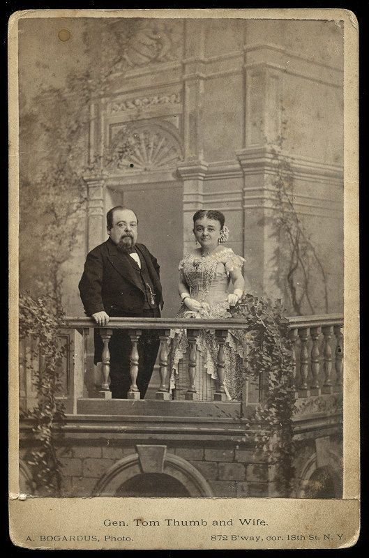 Original cabinet card of Victorian sideshow and circus personality General Tom Thumb, posing with his wife. Photographer was the famous Bogardus studio in New York city.    There is some old writing on the back, dated 1881.