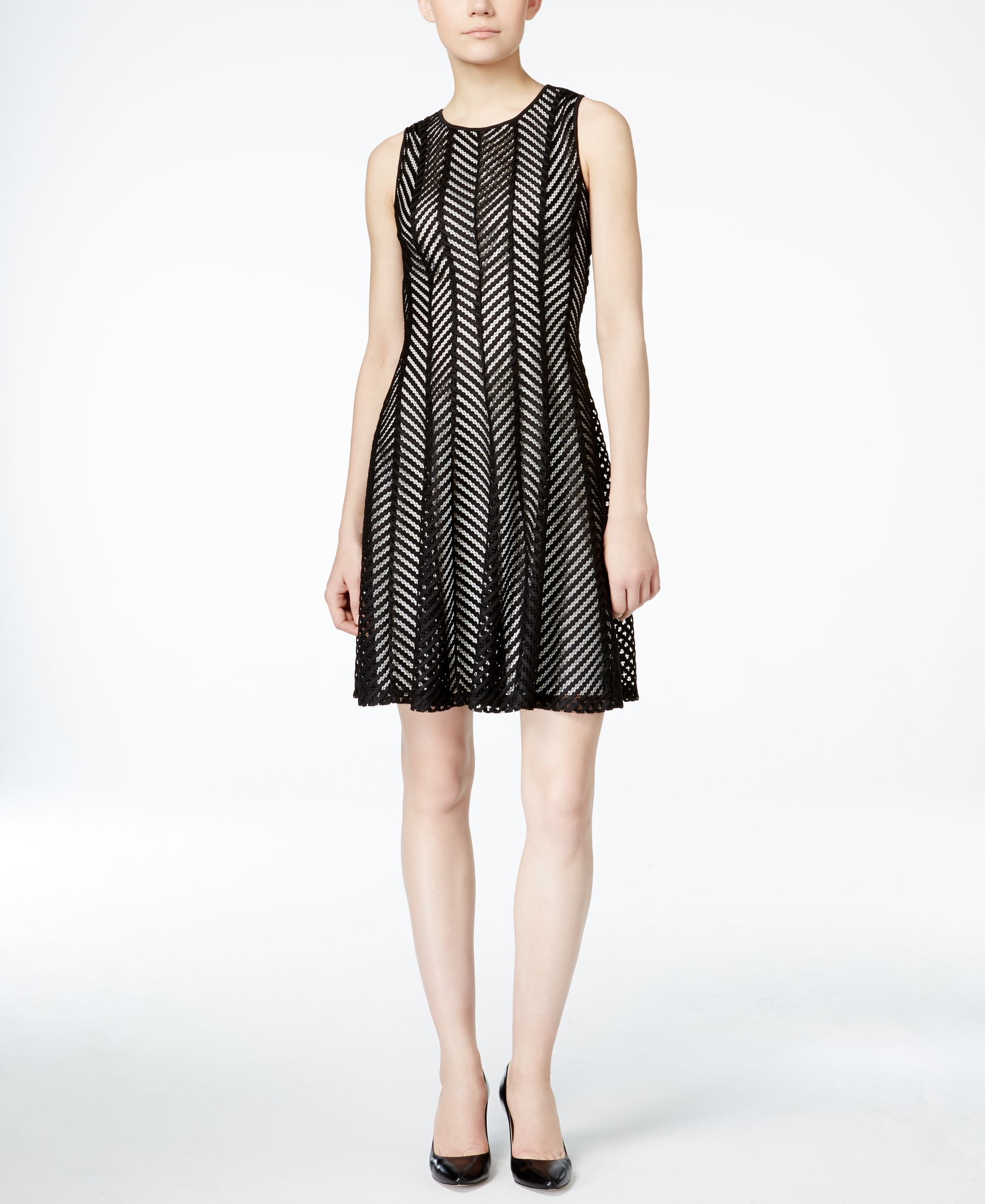Calvin Klein Sleeveless Mesh Fit & Flare Dress
