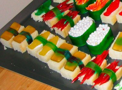 desert sushi - made on a base of white cake and candy added
