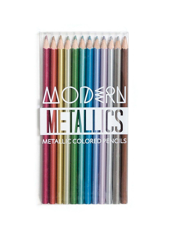 Set of 12 Metallic Colored Pencils