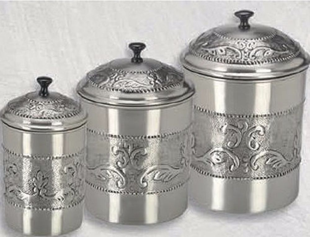 Stainless Steel Pewter Plated 3 Piece Embossed Steel Canister Set Kitchen