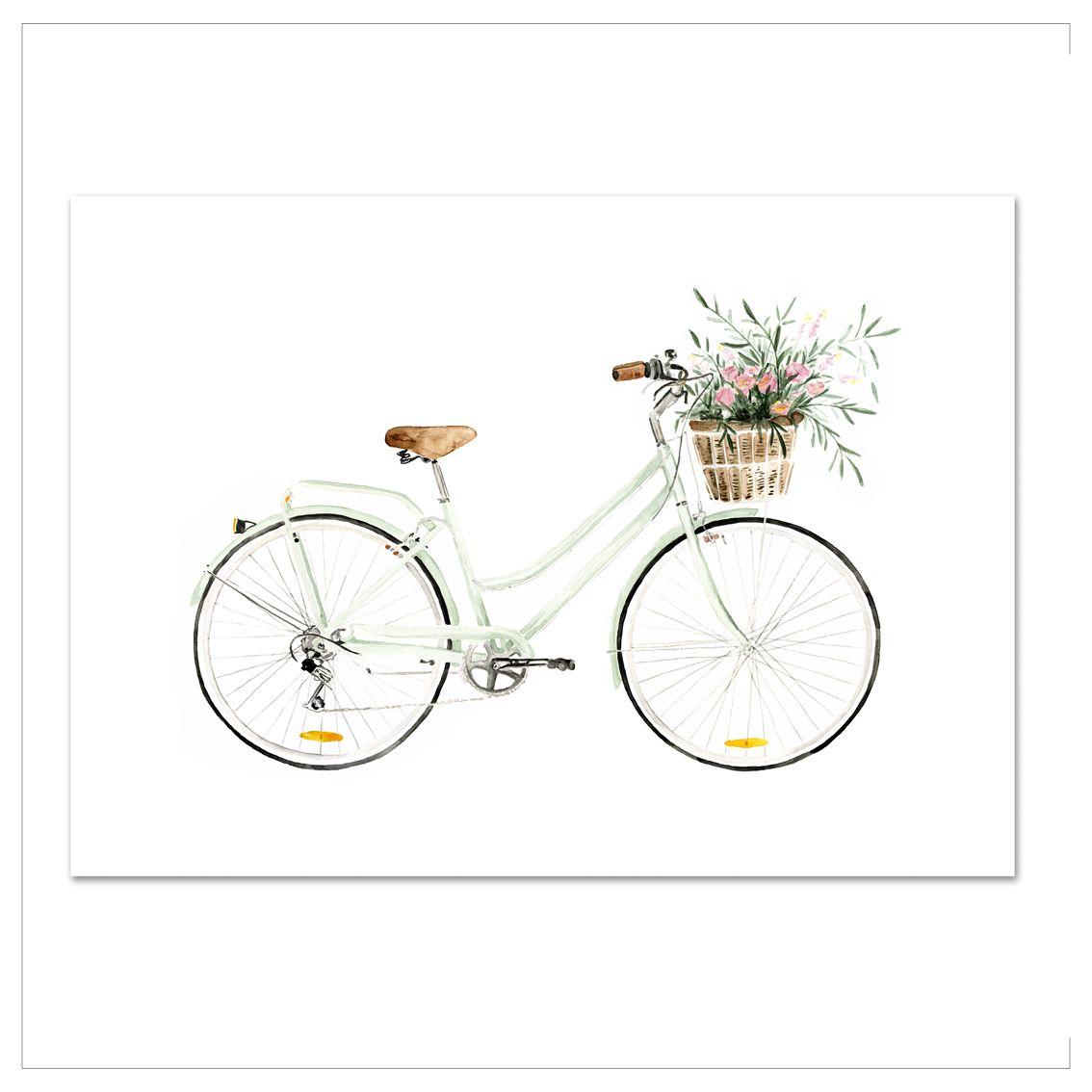 Kunstdruck - BICYCLE-LOVE | Fahrrad zeichnung, Fahrrad ...