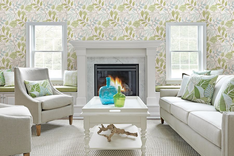 Living room wallpaper by brewster at http lelandswallpaper com botanical